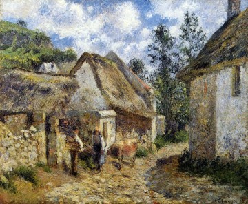 Camille Pissarro Painting - a street in auvers thatched cottage and cow 1880 Camille Pissarro