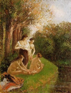 1895 Oil Painting - bathers 2 1895 Camille Pissarro
