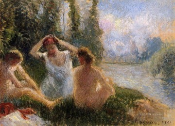 Bath Painting - bathers seated on the banks of a river 1901 Camille Pissarro
