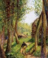 forest scene with two figures Camille Pissarro