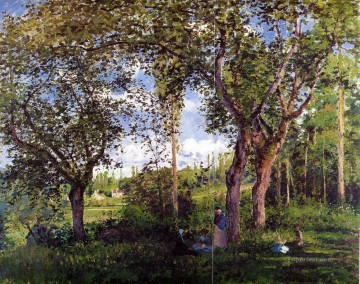 landscape with strollers relaxing under the trees 1872 Camille Pissarro Oil Paintings
