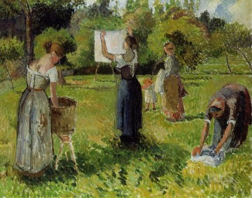 Dress Painting - laundresses at eragny 1 Camille Pissarro
