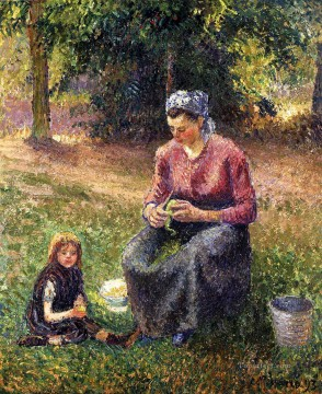 Camille Pissarro Painting - peasant woman and child eragny 1893 Camille Pissarro