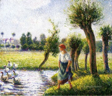 peasant woman watching the geese 1890 Camille Pissarro Oil Paintings