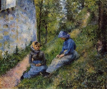 seated Art - seated peasants sewing 1881 Camille Pissarro