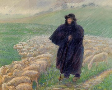 shepherd in a downpour 1889 Camille Pissarro Oil Paintings