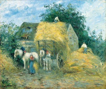 the hay wagon montfoucault 1879 Camille Pissarro Oil Paintings