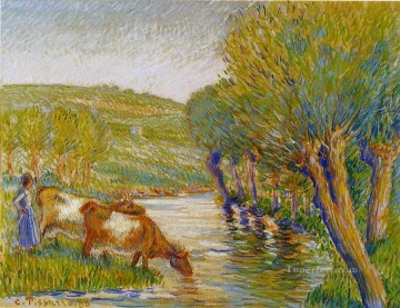 Camille Pissarro Painting - the river and willows eragny 1888 Camille Pissarro