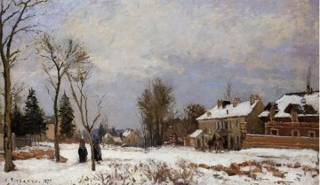 Road Oil Painting - the road from versailles to saint germain louveciennes snow effect 1872 Camille Pissarro