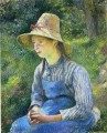 young peasant girl wearing a hat 1881 Camille Pissarro