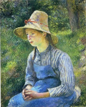 Camille Pissarro Painting - young peasant girl wearing a hat 1881 Camille Pissarro