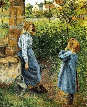 Camille Pissarro Painting - young woman and child at the well 1882 Camille Pissarro