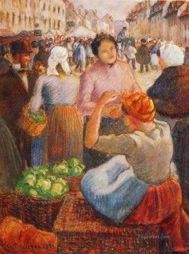 Camille Pissarro Painting - marketplace gisors 1891 Camille Pissarro