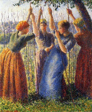 Camille Pissarro Painting - peasant women planting stakes 1891 Camille Pissarro