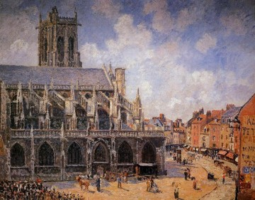 the church of st jacques in dieppe morning sun 1901 Camille Pissarro Oil Paintings