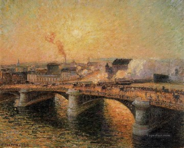 Sunset Art - the pont boieldieu rouen sunset 1896 Camille Pissarro