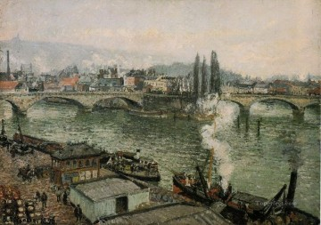 1896 Oil Painting - the pont corneille rouen grey weather 1896 Camille Pissarro