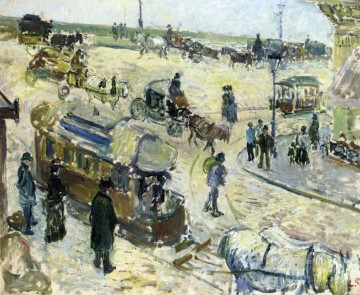1883 Works - place de la republique rouen with tramway 1883 Camille Pissarro
