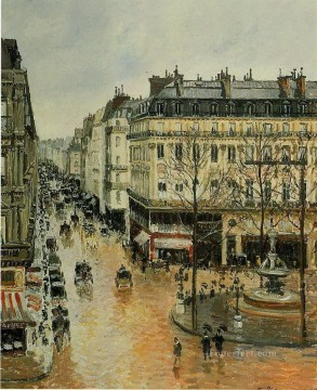 Afternoon Works - rue saint honore afternoon rain effect 1897 Camille Pissarro