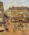 rue saint honore morning sun effect place du theatre francais 1898 Camille Pissarro