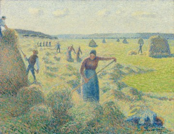 autumn or the grape harvest Painting - the harvest of hay in eragny 1887 Camille Pissarro