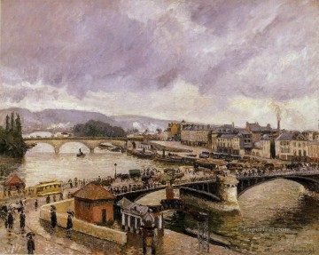 1896 Oil Painting - the pont boieldieu rouen rain effect 1896 Camille Pissarro