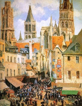 the old market at rouen Camille Pissarro Oil Paintings