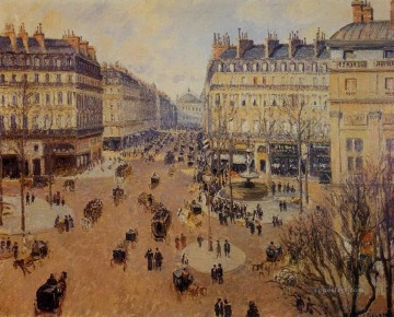 Theatre Art - place du theatre francais afternoon sun in winter 1898 Camille Pissarro
