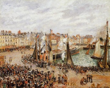 Camille Pissarro Painting - the fishmarket dieppe grey weather morning 1902 Camille Pissarro