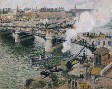 1896 Oil Painting - the pont boieldieu rouen damp weather 1896 Camille Pissarro