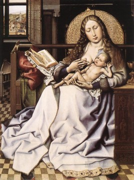 Virgin Painting - The Virgin And Child Before A Firescreen Robert Campin