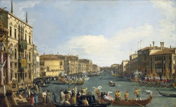 Canaletto Painting - A Regatta On The Grand Canal Venetian Venice Canaletto