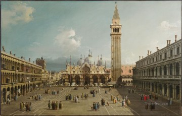 Canaletto Painting - Piazza San Marco With The Basilica Canaletto