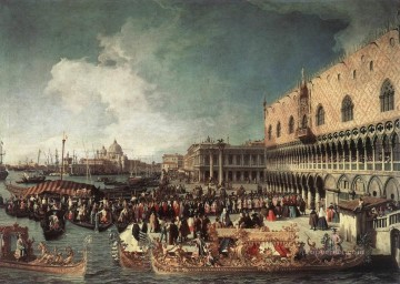 Canaletto Painting - Reception Of The Ambassador In The Doges Palace Canaletto