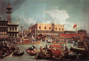 Canaletto Painting - The Bucintoro Returning To The Molo On Ascension Day Canaletto