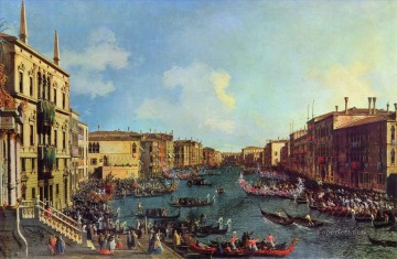 Canaletto Painting - a regatta on the grand canal Canaletto