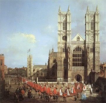 Canaletto Painting - westminster abbey with a procession of knights of the bath 1749 Canaletto