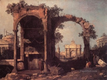 Canaletto Painting - Capriccio Ruins And Classic Buildings Canaletto