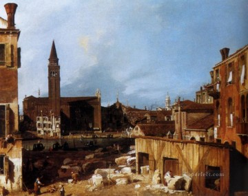 Canaletto Painting - Stonemasons Yard Canaletto
