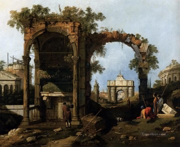 Canaletto Painting - capriccio with classical ruins and buildings Canaletto