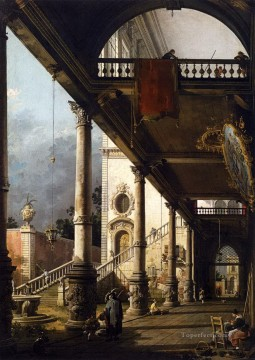 Canaletto Painting - perspective view with portico Canaletto