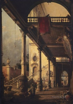 Canaletto Painting - perspective with a portico 1765 Canaletto
