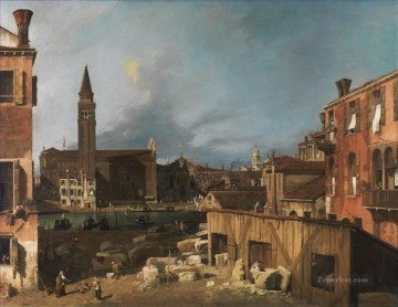 Canaletto Painting - The Stonemasons Yard Canaletto