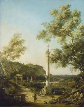 Canaletto Painting - capriccio river landscape with a column Canaletto