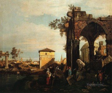 Canaletto Painting - capriccio with ruins and porta portello in padua Canaletto