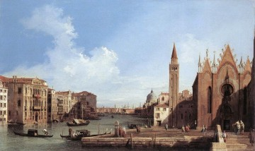 Canaletto Painting - Grand Canal From Santa Maria Della Carita To The Bacino Di San Marco Canaletto