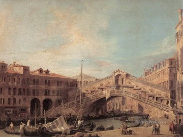 Canaletto Painting - Grand Canal The Rialto Bridge From The South Canaletto