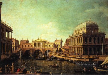 Canaletto Painting - basilica di vecenza and the ponte de rialto Canaletto