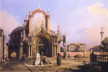 Canaletto Painting - capriccio of a round church with an elaborate gothic portico in a piazza a palladian piazza and 1755 Canaletto