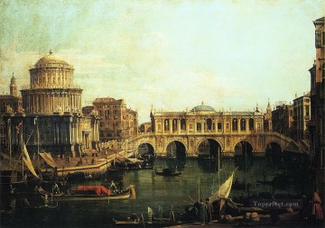 Canaletto Painting - capriccio of the grand canal with an imaginary rialto bridge and other buildings Canaletto